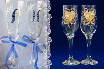 Роспись и украшение свадебных бокалов: идеи, способы и советы